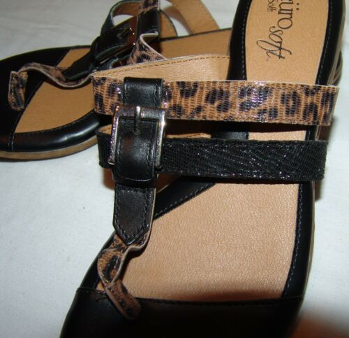 Soft Cuir Femme 6m Noir Sandales 6 Tongs Animalier Dessus Euro Sofft Rqc5Lj34A