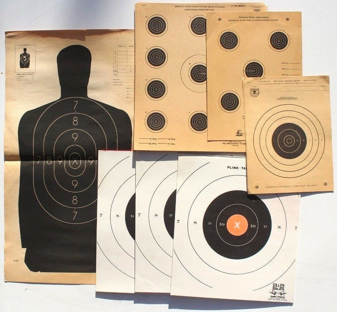 Vtg Lot All Sizes Variety NRA Official Rifle Paper Target Practice