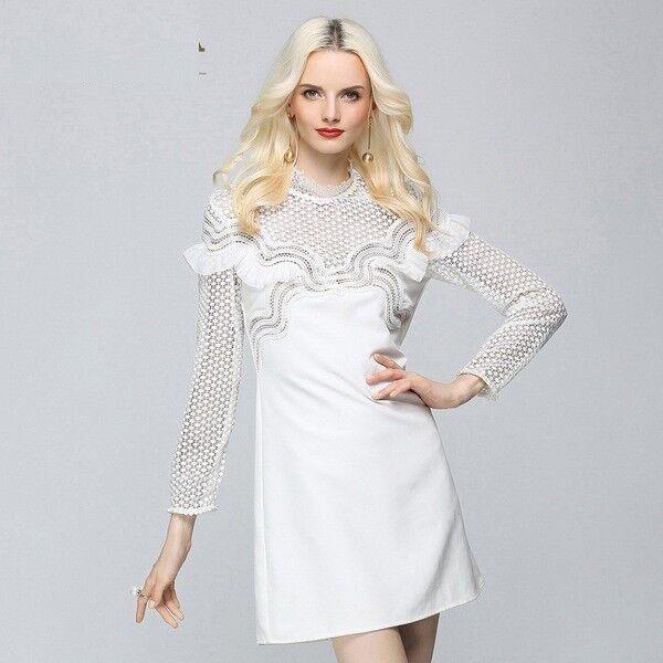 Élégant Raffinè DéguiseHommest Habit Court Blanc Réseau Minirobe Femme 4592