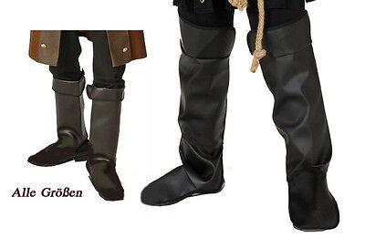 Gamaschen Kunstleder schwarz Kostüm Ritter Pirat Musketier Stiefelstulpen