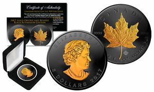 2017-Black-Ruthenium-amp-24K-Gold-Gilded-1-Troy-Oz-Silver-CANADIAN-MAPLE-LEAF-Coin