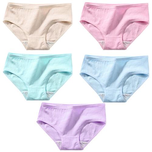 5Pc Women Teenage Girls Mid Waist Cotton Underwear Briefs Panties Underpants