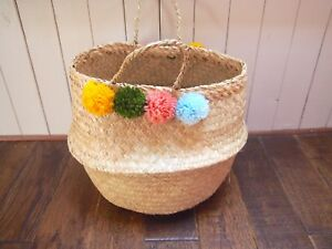 Natural Seagrass Belly Basket with PomPoms