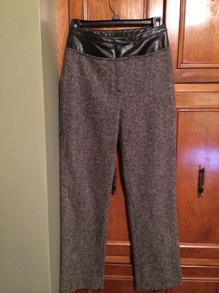 Women's Vintage 1980's FUTURE OZBEK Italian Trousers Wool And Leather Size 6