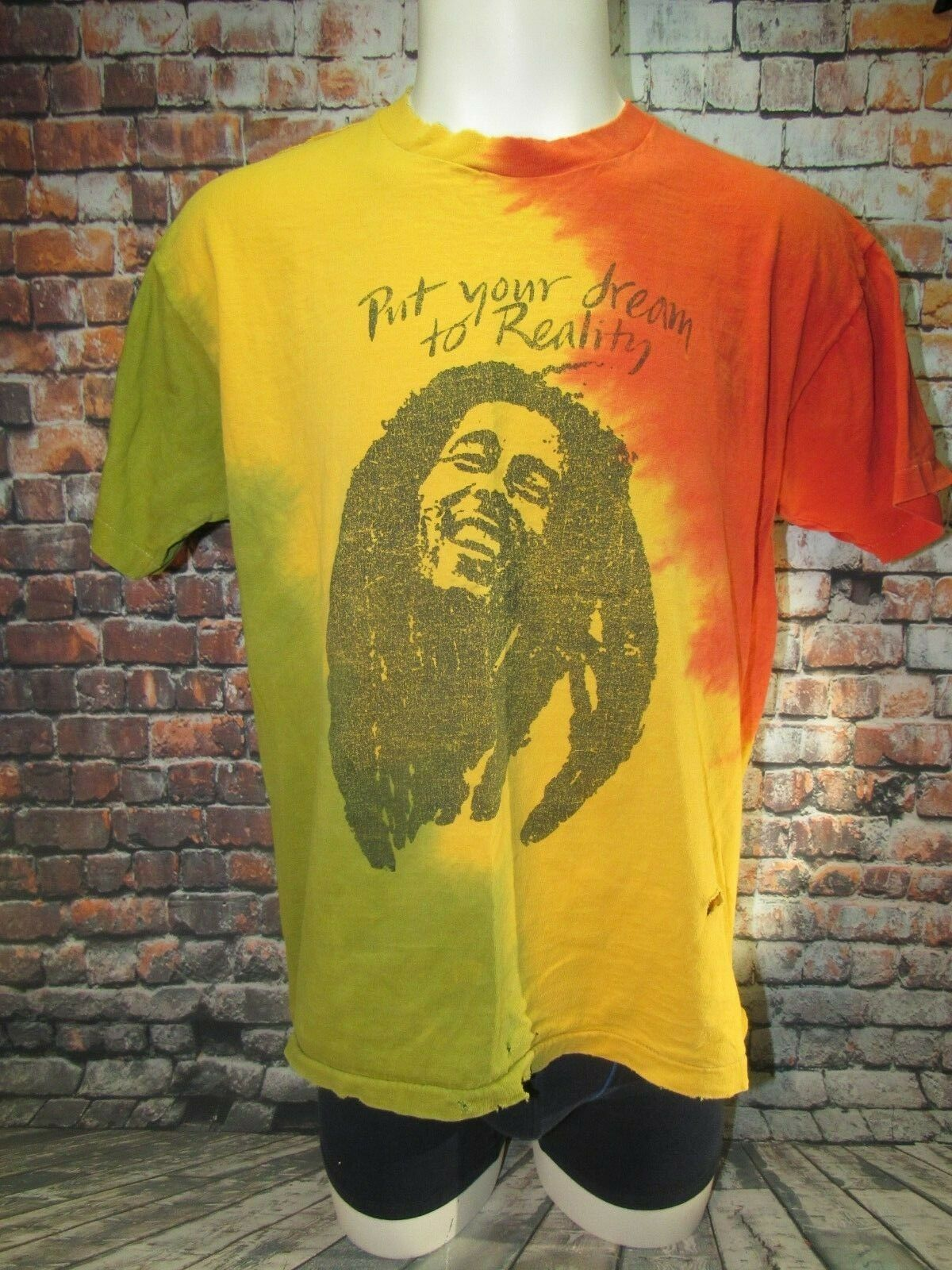 Vintage Bob Marley  Put Your Dream to Reality  T Shirt Tie Dye Mens XL WORN