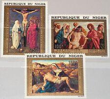 NIGER 1973 376-78 C210-12 Christmas Weihnachten Religion Paintings Gemäde MNH