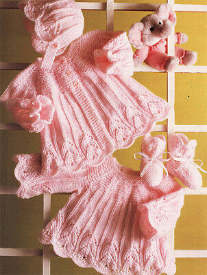 Girls- Dress, coat, boots & bonnets knitting pattern- lovely design in DK wool