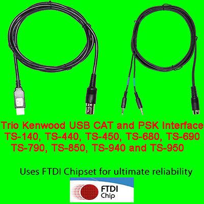 TS-790 Trio Kenwood USB CAT TS850 TS-690 TS-950 +more PSK31 Cable TS-450