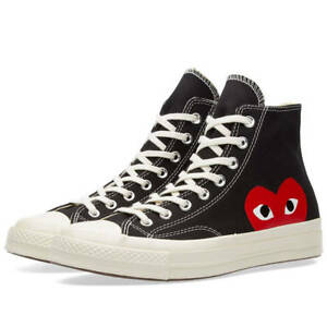 Comme des Garcons Play x Converse Chuck Taylor Black High Trainers ... b13df2c23