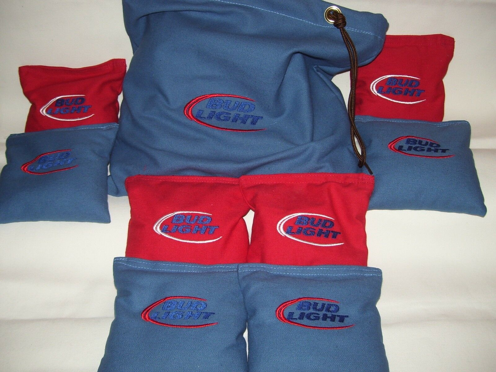 Bud Light Embroidered Cornhole set of 8 Corn Hole Bags With Storage Bag