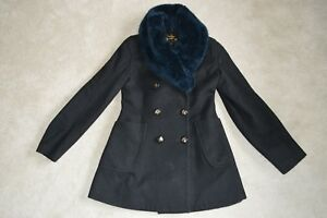 Vivienne-Westwood-Anglomania-Button-Black-Wool-Faux-Fur-Coat-Jacket-IT42-UK10