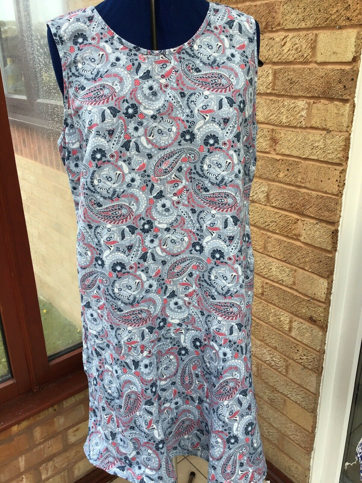 Dress NEXT Size 12 LINEN MIX Blue Mix GREAT CONDITION