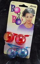 Goody  Bo Bo's Pair Hair Elastic Hair Accessories 1997 Red & Blue NOC #32793