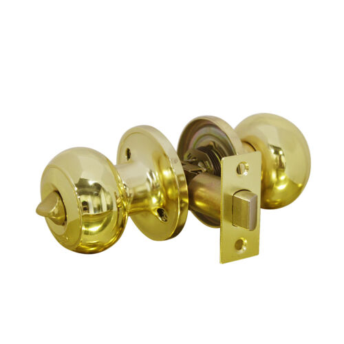 Brass Door Handle Lock Set Knob Interior Bedroom Bathroom Privacy Passage Knobs