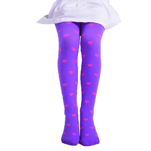 Kids Girls Footed Heart Dots Tights Stockings Ballet Candy Colors Opaque Stock