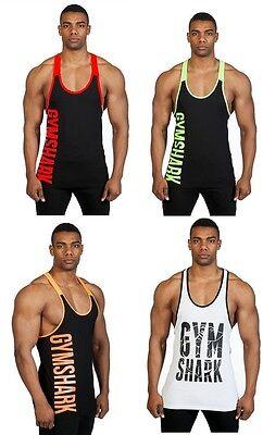 Men Bodybuilding Gym Shark Tank Top Cotton Stringer Fitness Muscle Vest Y Back