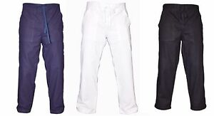 Mens-Cotton-White-Navy-Black-Summer-Trousers-Beach-Holiday-Casual-Pants-Bottoms