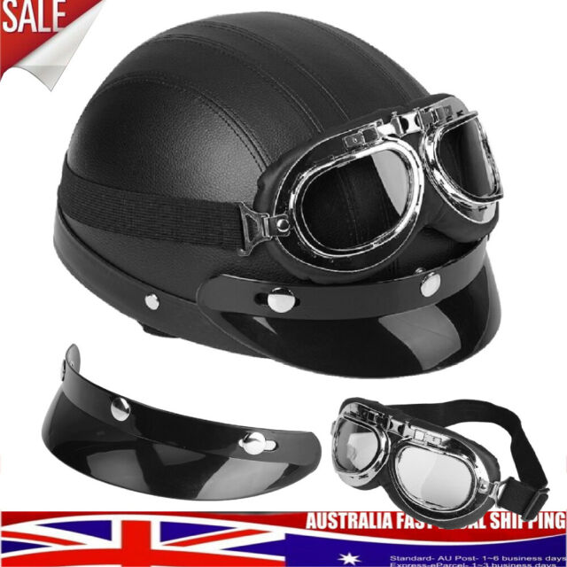 Leather Motorcycle Motorbike Open Face Helmet Visor with Goggles Black