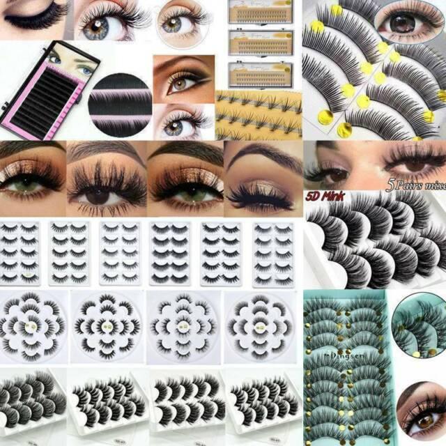5 Pairs Mink Hair False Eyelashes Wispy Fluffy Long Natural Eye Lashes Hot Sale
