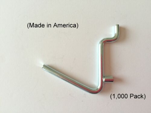 "1000 PACK 1//8 to 1//4 Inch Pegboard Angle 1 1//2/"" Metal Peg Garage Hanger Hooks"