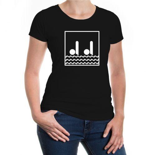 Damen Kurzarm Girlie T-Shirt Synchronschwimmen-Piktogramm Gruppenschwimmen