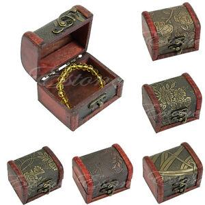Mini-Retro-Vintage-Stylish-Antique-Small-Wooden-Box-Metal-Lock-Jewelry-Treasure