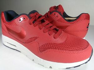 142ec391dc Womens Nike Air Max 1 Ultra Essentials Red Black Sail White SZ 5.5 ...