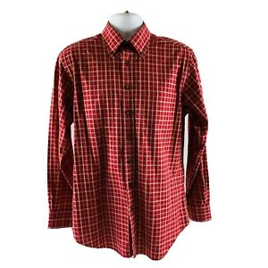 SCOTT-BARBER-Shirt-M-Brick-Red-Gold-Checkered-Cotton-Button-Down-Collar