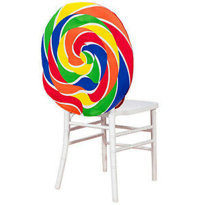 Image Is Loading Swirl Lollipop Candy Chair Covers Featuring A Rainbow