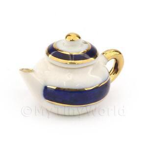 Dolls-House-Miniature-Blue-and-Metallic-Gold-Tea-Pot