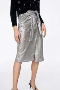 really comfortable wholesale online latest fashion Brand New Zara Silver Metallic Knotted Sequin Skirt Size S M L F/W ...