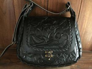Details about Mexican Leather Tooled Handbag, Shoulder Bag Bolsa Cincelada  Mexicana de Piel