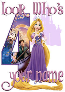 Disney Princess Rapunzel Personalised Girls T-Shirt Age 4 Ideal Gift//Present