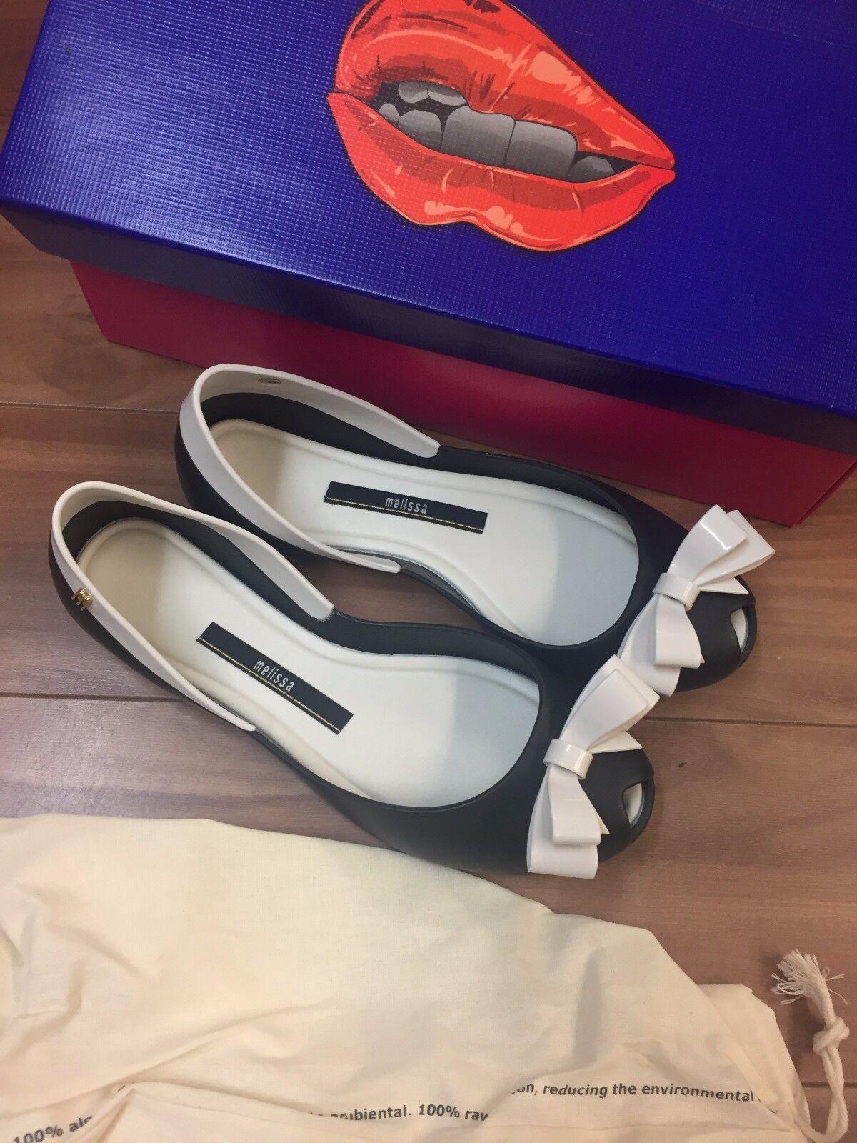 Melissa Queen AD noir nœud blanc femmes Gelée chaussures Authentique Taille 5