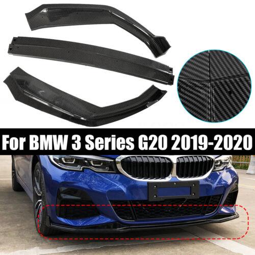 3Pcs Carbon Fiber Style Front Bumper Lip Spoiler For BMW 3 Series G20 2019-2020
