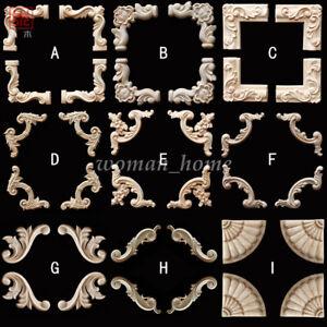 Unpainted-Wood-Craft-Carved-Corner-Onlay-Applique-Frame-DIY-Home-Furniture-Decor