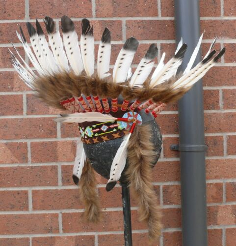 #w Kids Quality Native American Indian Chief Feather war bonnet Headdress 1 size