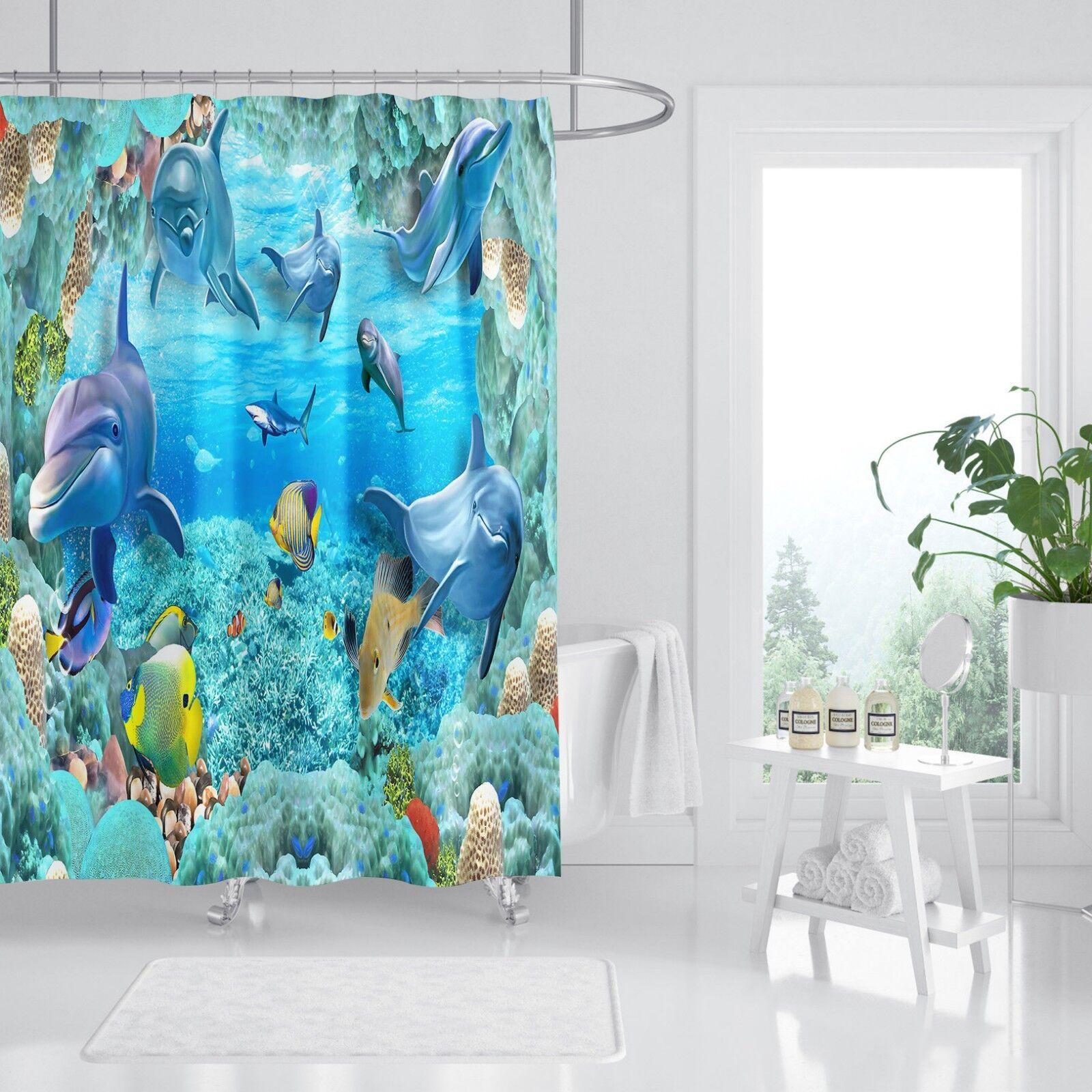 3D Meer Delphin 4 Duschvorhang Wasserdicht Faser Bad Bad Bad Daheim Windows Toilette DE | Bestellung willkommen  d35ef1