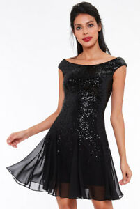 Dettagli su Vestito donna corto mini chiffon paillettes nero party festa sera cocktail t.40
