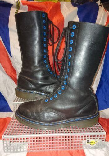 Dr Black Skingirl High calf England 6 Doc Punk Blue Vintage Martens grunge Goth wxqxtX