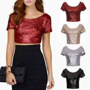 AU-Women-Sequin-Crop-T-Shirt-Tops-Summer-Short-Sleeve-Tee-Shirt-Top-Blouses-Hot