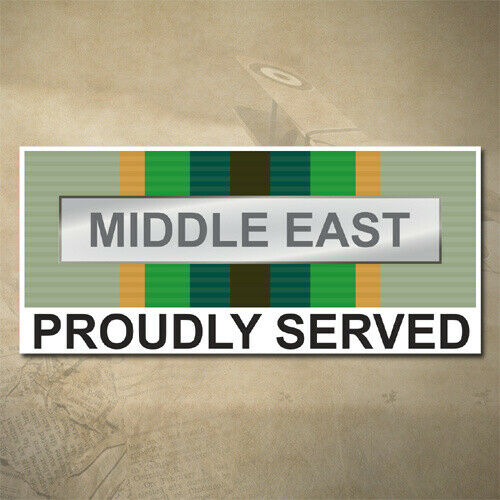 MIDDLE EAST MEDAL DECAL AUSTRALIAN ASM 1975+ PROUDLY SERVED150MM X 65MM |