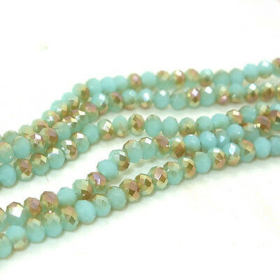 New Blue jade Faceted 100pcs Rondelle exquisite crystal 3x4mm Beads