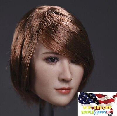 1//6 ZC female head sculpt B black short hair FOR Hot toys Phicen ❶US IN STOCK❶