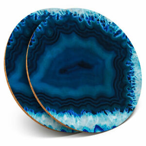 2-x-Coasters-Blue-Agate-Geode-Effect-Science-Geology-Kitchen-Home-Gift-3437