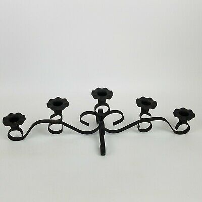 Black 5 Arm Candle Holder Coffee Table Centerpiece Fireplace
