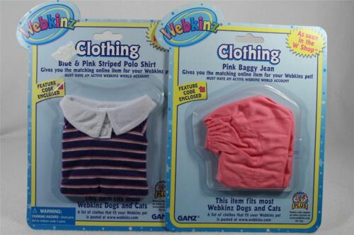 Webkinz /'Blue /& Pink Striped Polo Pink Baggy Jean/'-WE000059 /& WE000066 NEW!