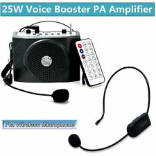 25W Portable Voice Booster Amplifier Loudspeaker Remote Control+ Wireless Mic D5