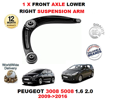 FOR PEUGEOT 3008 5008 1.6 2.0 2009-2016 1X FRONT AXLE RIGHT LOWER SUSPENSION ARM