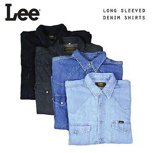 Vintage-Hombre-Lee-Manga-Larga-Vaqueros-Camisas-XS-S-M-L-XL-XXL
